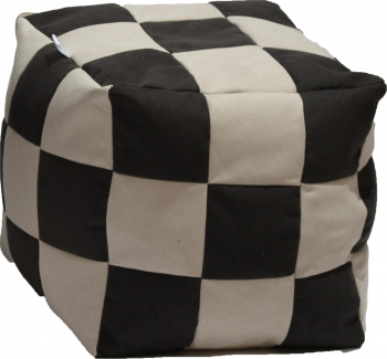 Fotoliu Pufrelax Taburet Cub XL Gama Premium - Black and Cream cu husa detasabila textila umplut cu perle polistiren Fotolii
