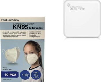 Set 10 Buc Masca Pentru Copii E-Smartgadget KN95 FFP2 Alb Plus 1 Buc Cutie Portabile Pentru Depozitare 6-14 Ani Masti chirurgicale si reutilizabile