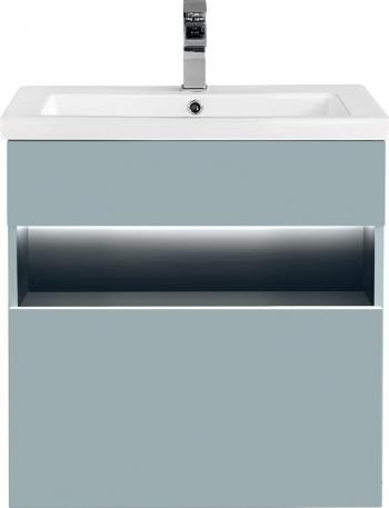 Set 3 piese mobilier baie BAHA cu masca oglinda si lavoar Gri antracit Mobilier baie