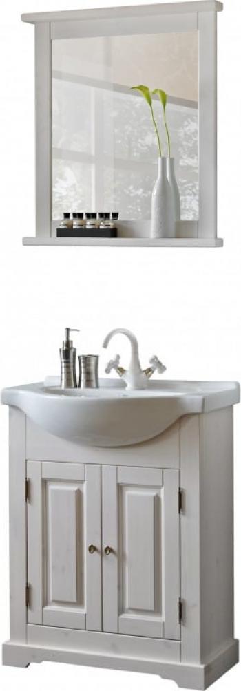 Set mobilie baie COOL cu masca 85cm lungime lavoar si oglinda alb Mobilier baie