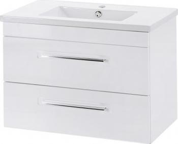 Set mobilie baie masca si lavoar ACT 80cm lungime 57cm inaltime 46cm adancime alb lucios Mobilier baie