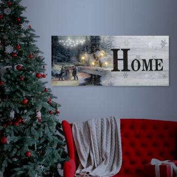 FAMILY POUND - Tablou cu LED - peisaj de iarna Family 2 x AA 30 x 70 cm Tablouri