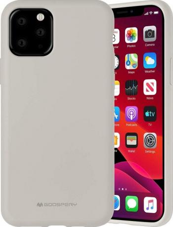 Husa Spate Mercury Silicone iPhone 11 Pro Max cu Interior Alcantara crem Huse Telefoane