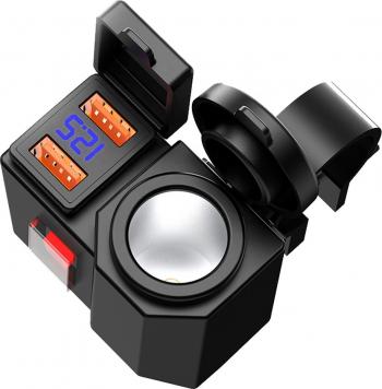 Priza Motocicleta 12v cu 2 x USB Fast Charging QC3.0 buton si indicator de voltaj