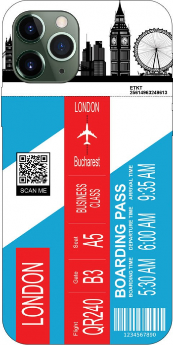 Husa Silicon Soft Upzz Print Travel Compatibila cu Iphone 11 Pro Max Model London Huse Telefoane