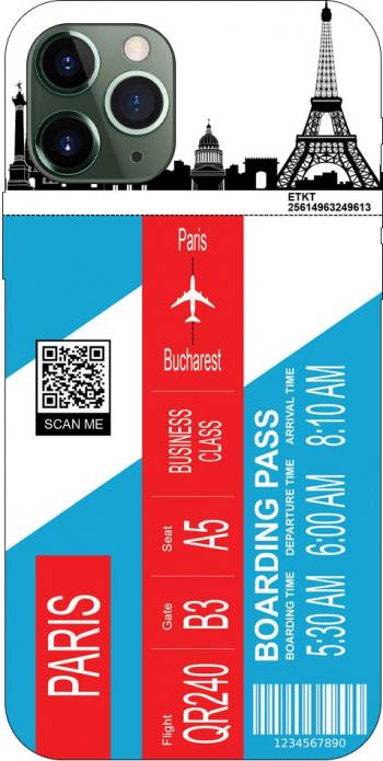 Husa Silicon Soft Upzz Print Travel Compatibila cu Iphone 11 Pro Max Model Paris Huse Telefoane