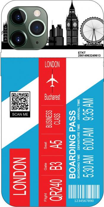 Husa Silicon Soft Upzz Print Travel Compatibila cu Iphone 11 Pro Model London Huse Telefoane