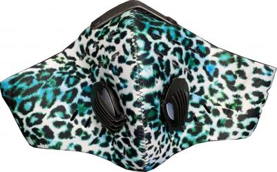 Masca HOPE R cu supapa si filtru carbon activ anti poluare reutilizabila leopard bleu pentru alergat bicicleta trotineta Masti chirurgicale si reutilizabile