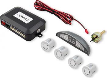 Set senzori de parcare Savio CP-03 kit 4 senzori display LED si avertizare sonora Argintiu Alarme auto si Senzori de parcare