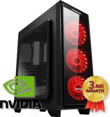Sistem Nou Gaming Halo 6 Intel Core i7-7700 up to 4200MHz 16GB RAM DDR4 SSD 256GB + HDD 1000GB NVIDIA GTX 1050Ti 4GB GDDR5 Win 10 PRO Calculatoare Desktop
