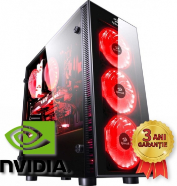 Sistem Nou Gaming REDRAGON Intel Core i7-9700K up to 4900MHz 16GB RAM DDR4 SSD 512GB + HDD 2000GB NVIDIA GTX 1050Ti 4GB GDDR5 Win 10 PRO