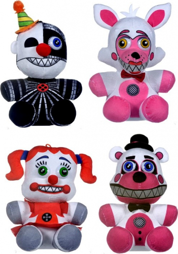Set 4 x Jucarie plus 25 cm FNAF - Sister Location Freddy Foxy Mangle Phantom Baby Five Nights at Freddys Multicolor