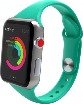 Curea Smart Watch Compatibila cu Apple Watch 1/2/3/4/5 Nike+ Bratara din Silicon Slim 38/40mm Verde Accesorii Smartwatch