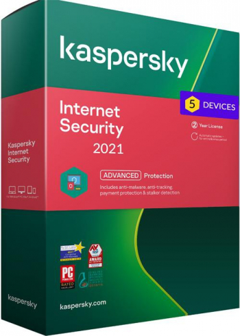 Kaspersky Internet Security 2021 5 Dispozitive /2 Ani - windows/mac/android Antivirus