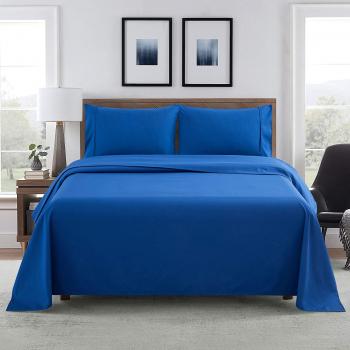 Cearsaf de pat 140/240cm Satinat bumbac 100 Albastru Lenjerii de pat