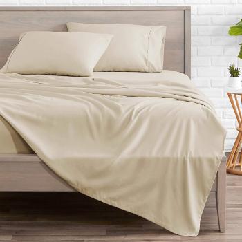 Cearsaf de pat cu elastic 90/200cm Satinat bumbac 100 Crem Lenjerii de pat