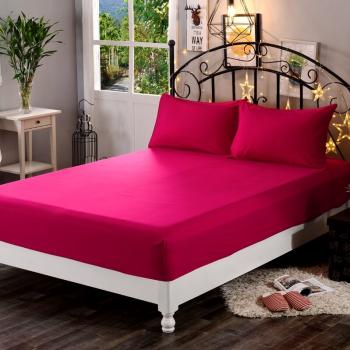 Cearsaf de pat cu elastic 90/200cm Satinat bumbac 100 Fucsia Lenjerii de pat