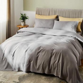 Cearsaf de pat cu elastic 90/200cm Satinat bumbac 100 Gri Lenjerii de pat