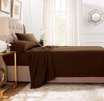 Cearsaf de pat cu elastic 90/200cm Satinat bumbac 100 Maro Lenjerii de pat