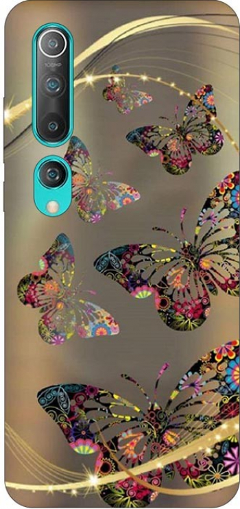 Husa Silicon Soft Upzz Print Compatibila Cu Xiaomi Mi 10 Pro/Mi 10 Model Golden Butterflies Huse Telefoane