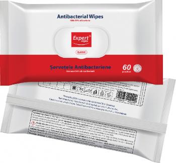 Servetele antibacteriene Expert Wipes Classic 60 buc Gel antibacterian