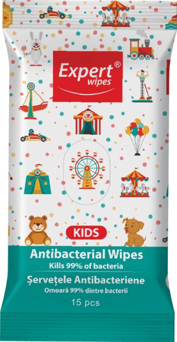 Servetele antibacteriene Expert Wipes Kids 15 buc Gel antibacterian