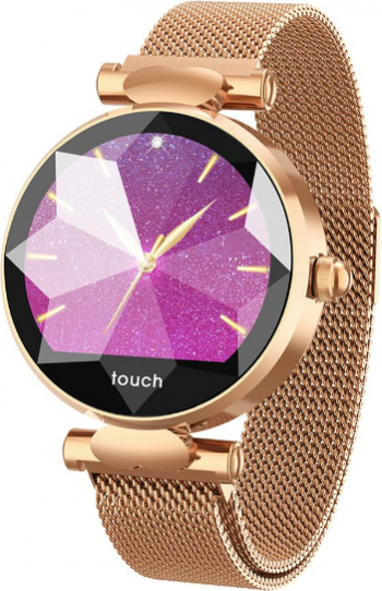 Ceas SmartWatch Colmi Diamond Gold cu Touch si Bratara Metalica Aurie Magnetica Smartwatch