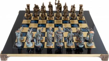 SET DE SAH PERIOADA CICLADICA PIESE BLUE/BRONZ TABLA ALBASTRA 44 X 44CM Jocuri de Societate