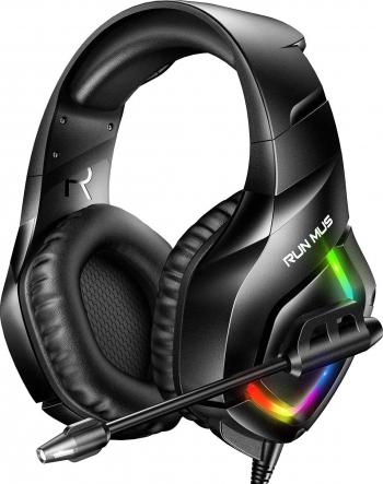 Casti gaming profesionale Runmus and reg K1-B RGB sistem surround HD microfon anulare zgomot de fond lumina led pentru PC PS4 Xbox Nitendo Casti