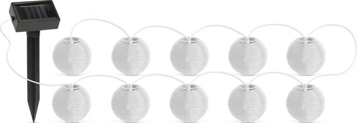 Lampi Solare LED tip Sir 10 Lampioane Culoare Alb Diametru 7 cm Lungime 377 cm Corpuri de iluminat