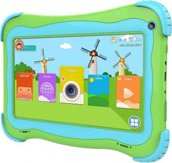 Tableta copii Techone and reg MID733 7 inch IPS Quad Core 16GB memorie stocare camera foto fata/spate carcasa anti-soc verde