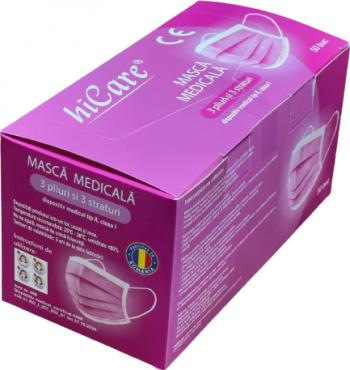 Cutie 50 masti medicale Hicare BFE 99 3 straturi 3 pliuri tija metalica roz Masti chirurgicale si reutilizabile