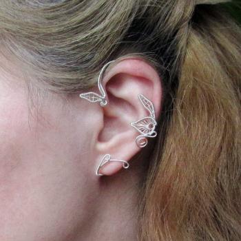 Cercel Ear cuff Elven Rose Design Belle Primavara handmade placat argint Cercei