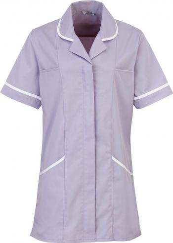 Halat de lucru pentru femei Branio cu maneca scurta marimea XXL culoare lila cu insertii albe in contrast