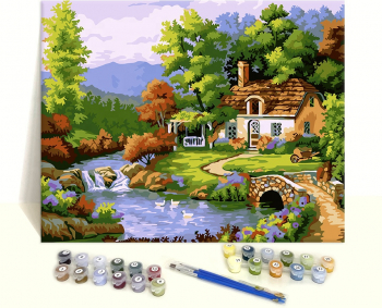 Set pictura pe numere Peisaj Casuta langa lac Tablouri