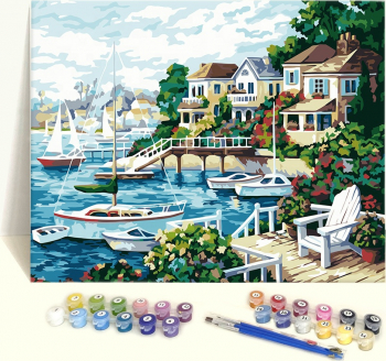Set pictura pe numere Tablou cu barci Tablouri