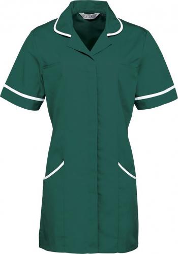 Halat de lucru pentru femei Branio cu maneca scurta marimea L verde cu insertii albe in contrast Halate dama