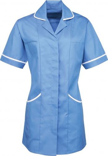 Halat de lucru pentru femei Branio cu maneca scurta marimea XS bleu cu insertii albe in contrast