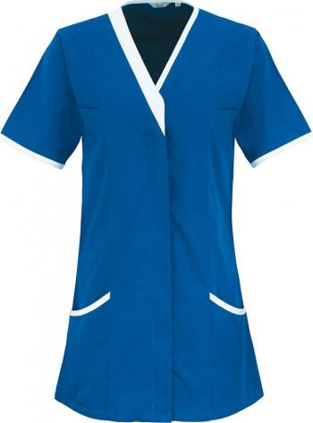 Halat de lucru pentru femei Branio cu maneca scurta marimea XS culoarea albastru cu insertii albe in contrast
