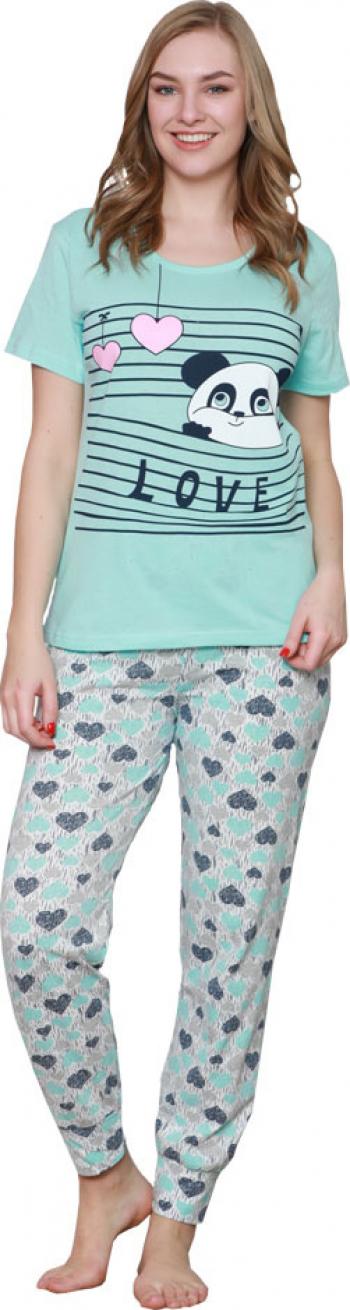 Pijamale dama Serena culoare albastru deschis imprimeu Panda