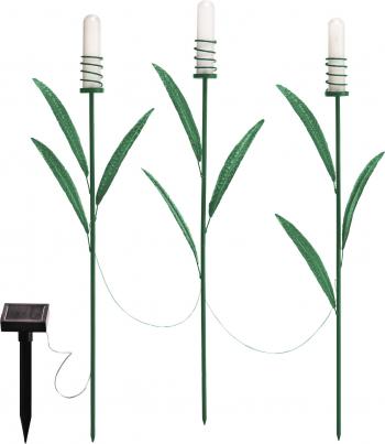 Set 3 buc. Lampa Solara LED Model Trestie Lumina Alb Cald Metal Corpuri de iluminat