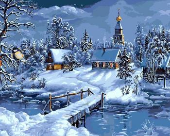 Set pictura pe numere Peisaj de iarna Tablouri