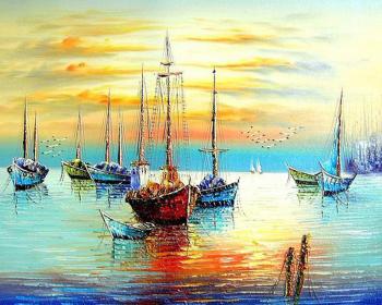 Set pictura pe numere Tablou Barci la apus Tablouri