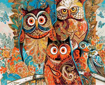 Set pictura pe numere Tablou Bufnite colorate Tablouri