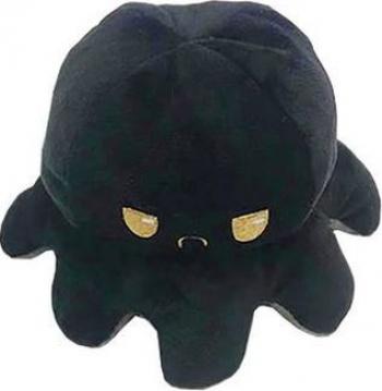 Caracatita reversibila din plus Mood Octopus doua emotii trista si vesela 19 x 11 cm negru cu gri Jucarii