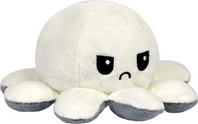 Jucarie reversibila din plus Octopus doll OKTANE caracatita cu 2 fete pentru reprezentarea sentimentelor 20x20cm gri-alb AMG Jucarii