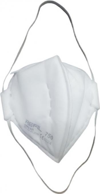 Set de 3 masti de protectie respiratorie Refil 750 FFP3 fara supapa pliabila alba Masti chirurgicale si reutilizabile