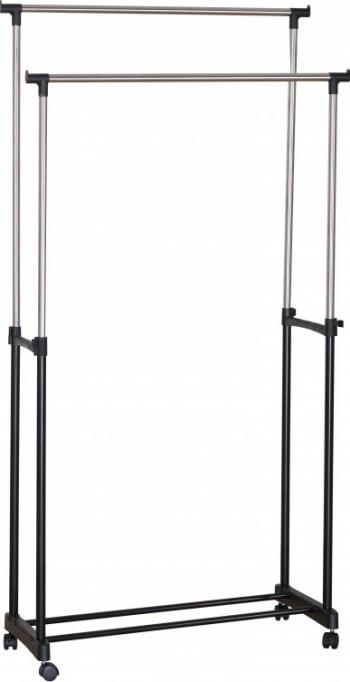 Suport pentru haine dublu din metal mobil 86 x 39 x 95-165 cm Grunberg GR3653 Sifoniere si dulapuri