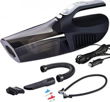 Aspirator auto 4in1 cu compresor lanterna si accesorii alimentare 12V 30L/min 120W Aspiratoare