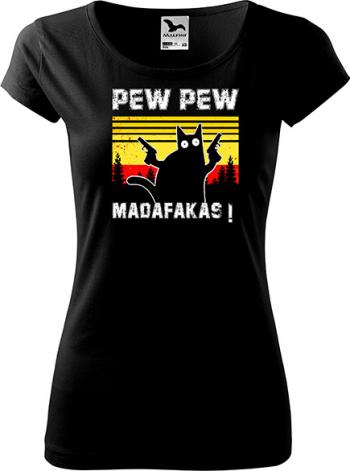 Tricou dama K-off negru Pew Pew Madafakas 2XL Tricouri dama